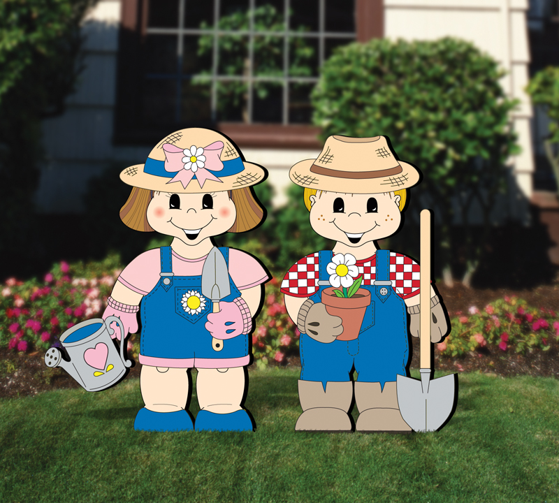 Gardener dress-up darlings are a great addition to any backyard or outdoor setting