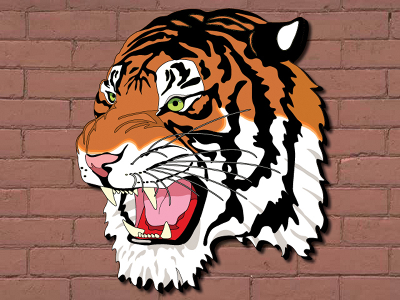 This painted tiger head is a great way to show team spirit