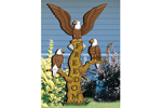 Freedom flyers yard art pattern has three bald eagles perched on a tree trunk