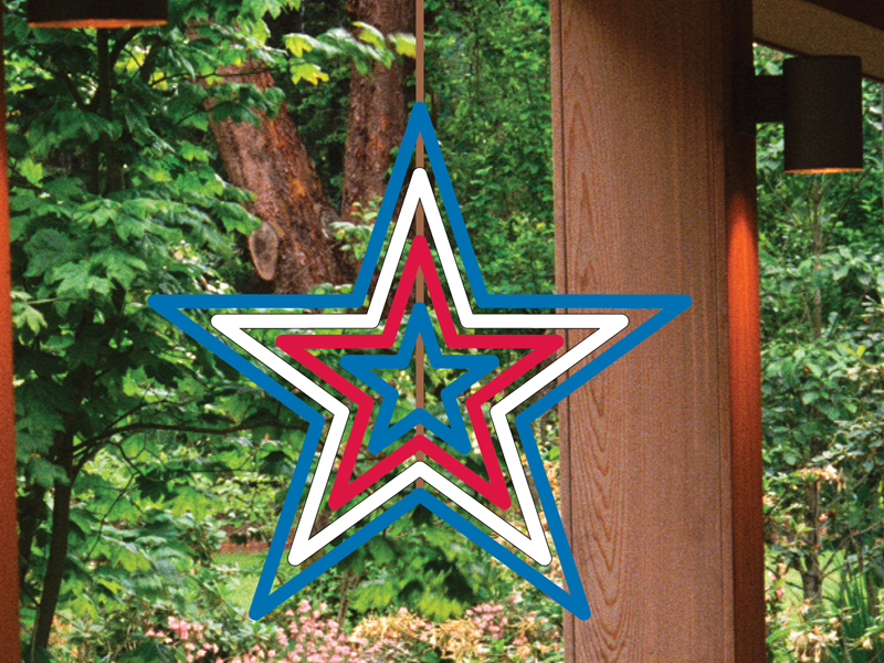 This windspinner star adds great color and motion to your backyard