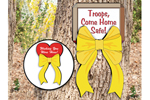 Yellow ribbons can be hung from a large tree to show your spirit for our troops and military