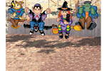 This yard art patternhas four separate Halloween characters that can be hung from a tree including a scarecrow, dracula, witch and frankenstein