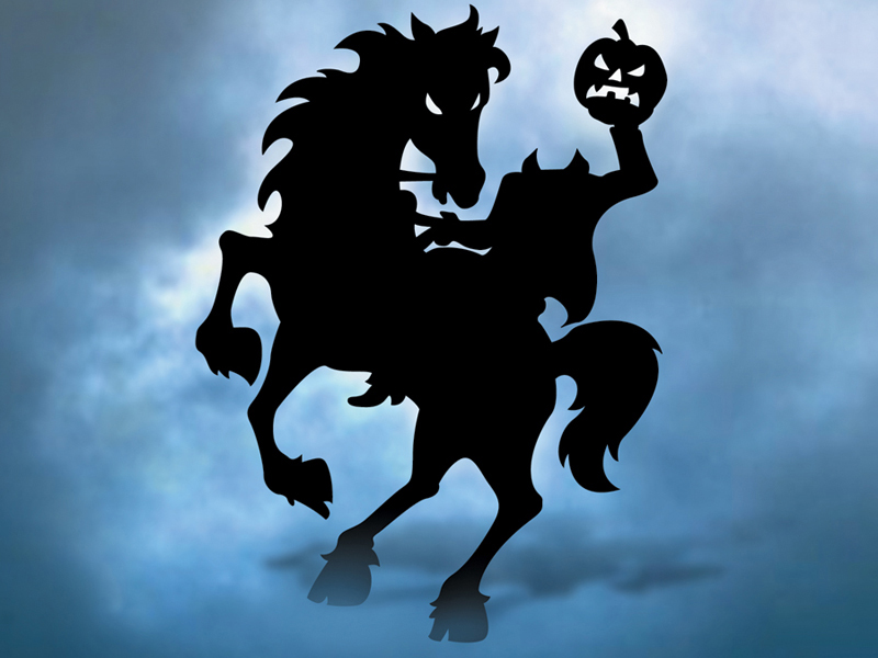 Headless horseman yard art pattern is scary Halloween decoration for your yard