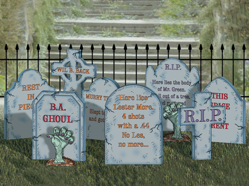 The create-a-graveyard yard art pattern includes eight different style headstones