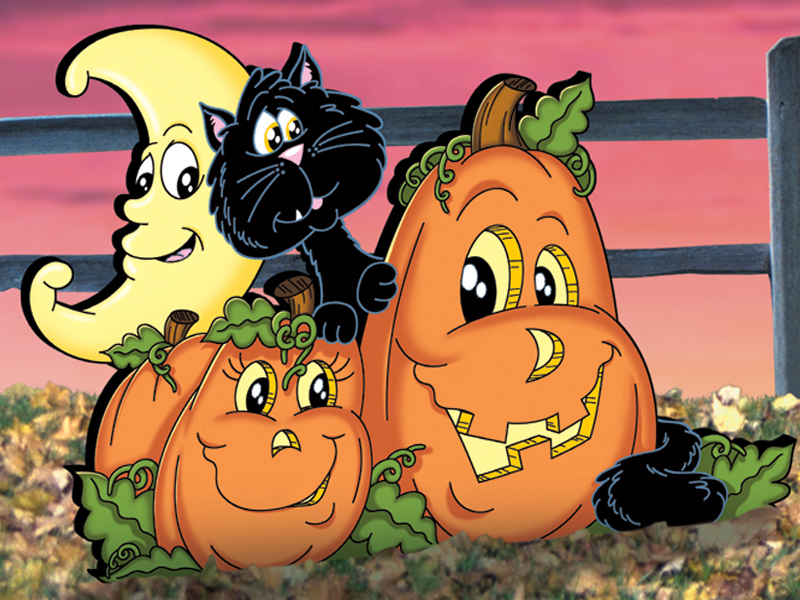 Pumpkin patch pals pattern features a cute addition to your Halloween scene