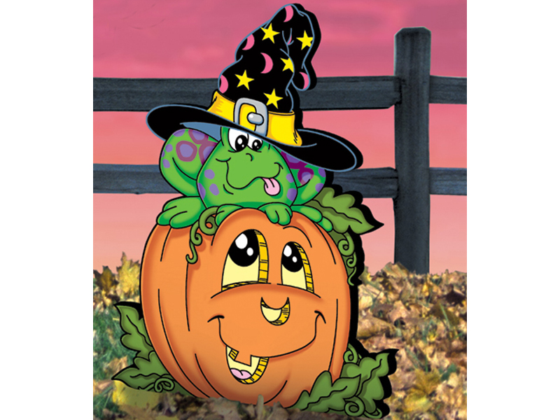 Country Plan Front of Home Pumpkin Patch Frog
