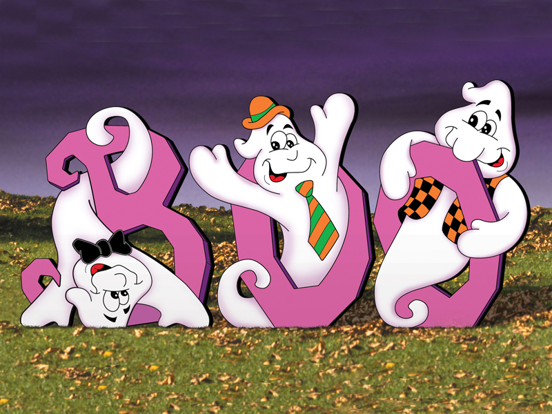 "Three cary ghosts in this pattern spell out the word ""Boo"""