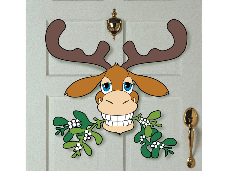 This moosletoe decoration can be hung on a door to greet guests