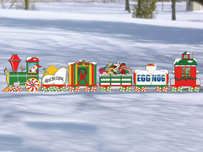 The North Pole express pattern features six different train cars that attach to become one large scene for Christmas