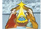 The nativity is the focal point of the entire scene