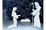 3D Nativity is shown all in whit efor a peaceful and dramatic effect