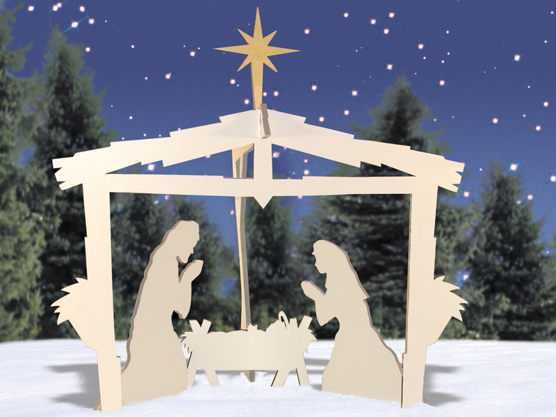 This yard nativity is shown in natural wood tones for a more rustic feel to the pattern