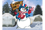 This Uncle Sam snowman has a colorful and patriotic feel