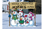 Fun winter-themed yard art pattern with snowman family holding sign