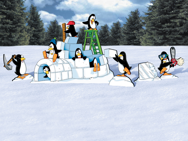 Winter themed penguin fun pattern with multiple penguin and an igloo