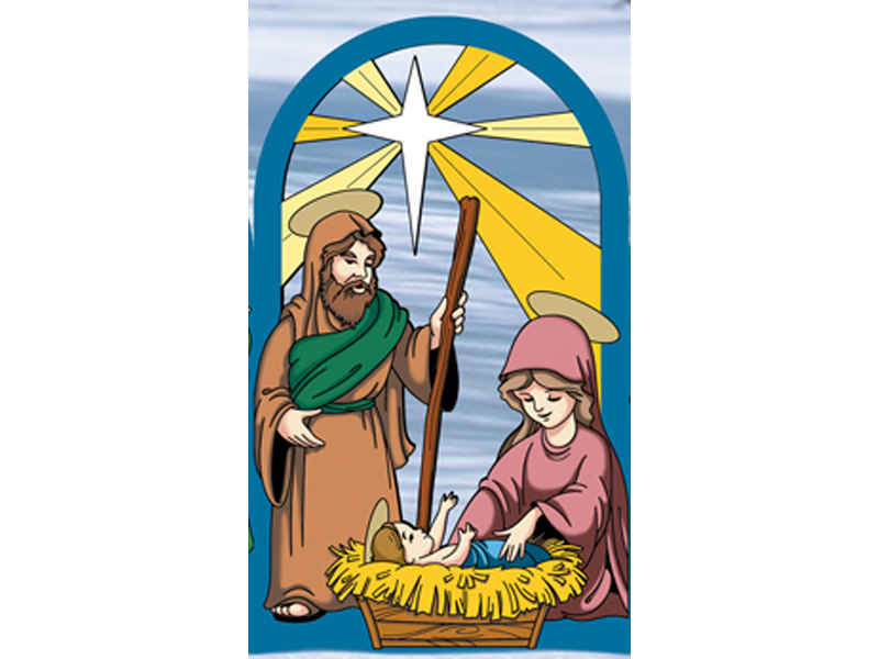 Beautiful arched designed nativity scene with Mary and Joseph