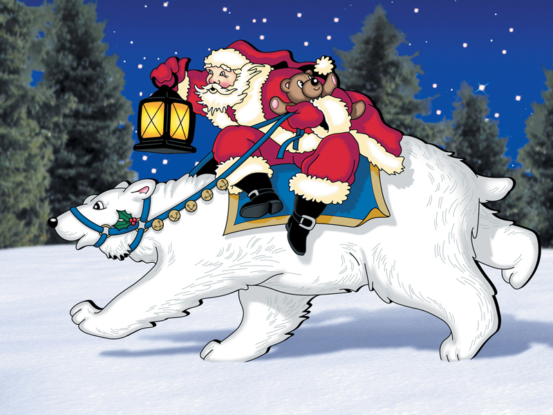 Fantasy flyer pattern features a festive Santa riding a polar bear