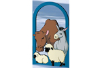 Beautiful arched pattern featuring nativity animals