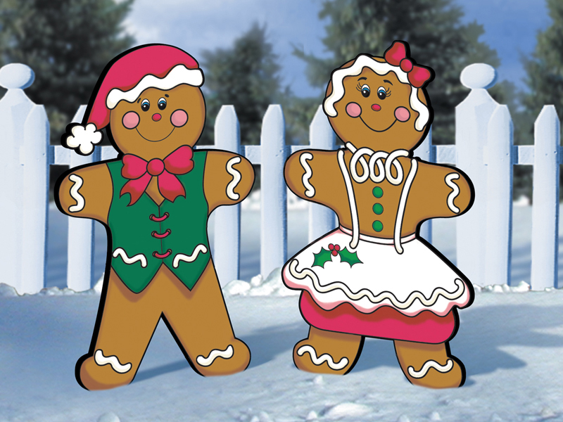 Light-hearted gingerbread man and woman are nostalgic Christmas decorations