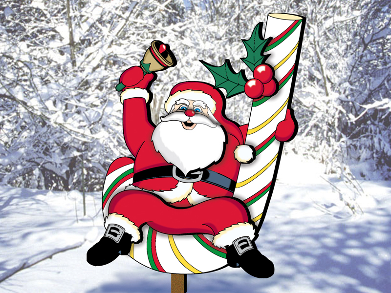 Cute candy cane Claus is a festive outdoor decoration