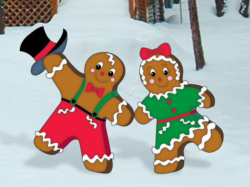 Dancing gingerbread man and woman add light-hearted holiday appeal to your yard