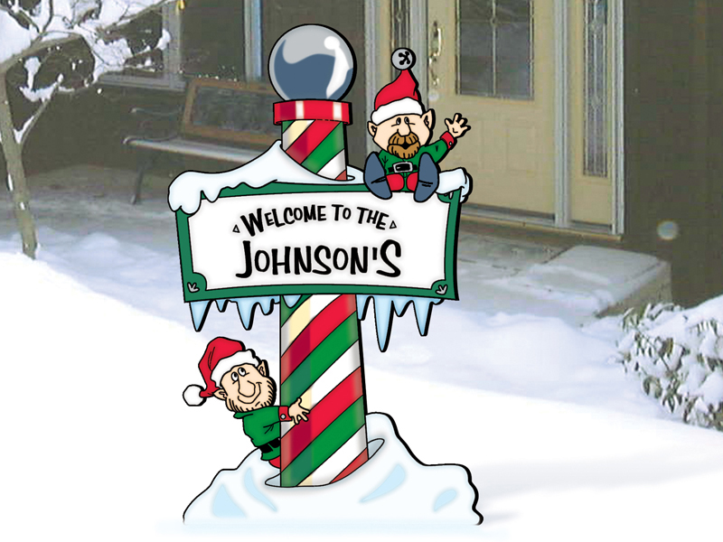 Inviting winter north pole welcome greets guests