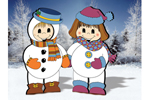 Cuddly dress-up darling snowkids are a cute winter decoration