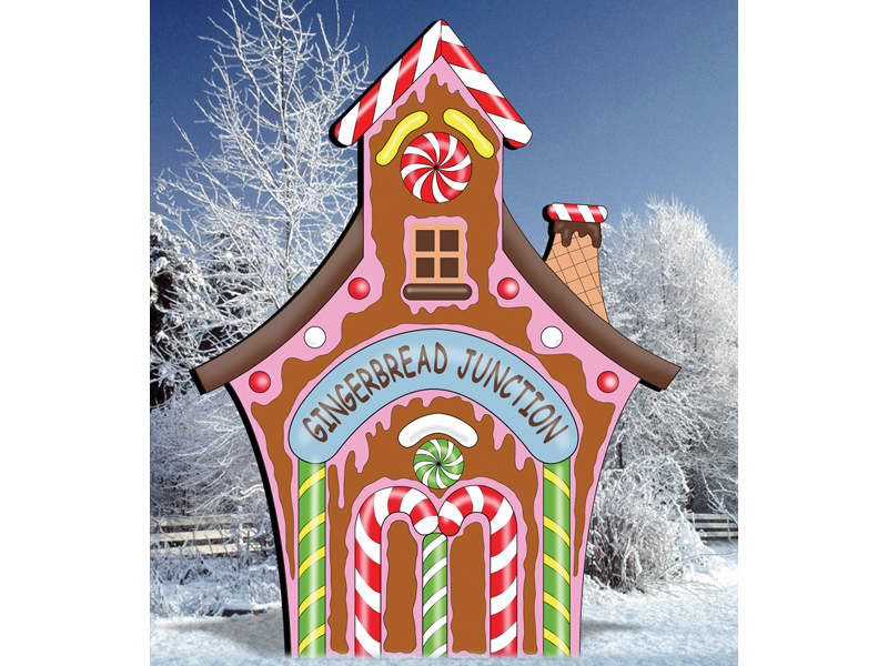 Gingerbread junction is a colorful outdoor decoration