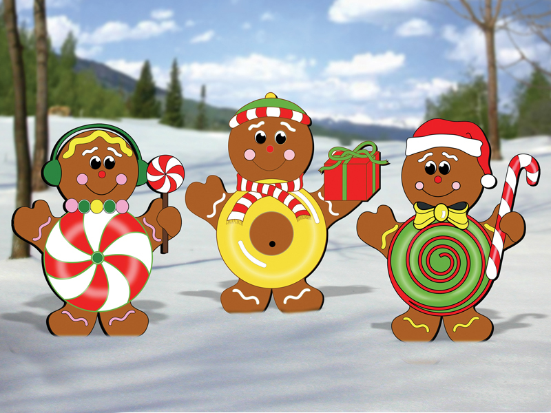Gingerbread candy kids looks great with the gingerbread train and add to the colorful scene