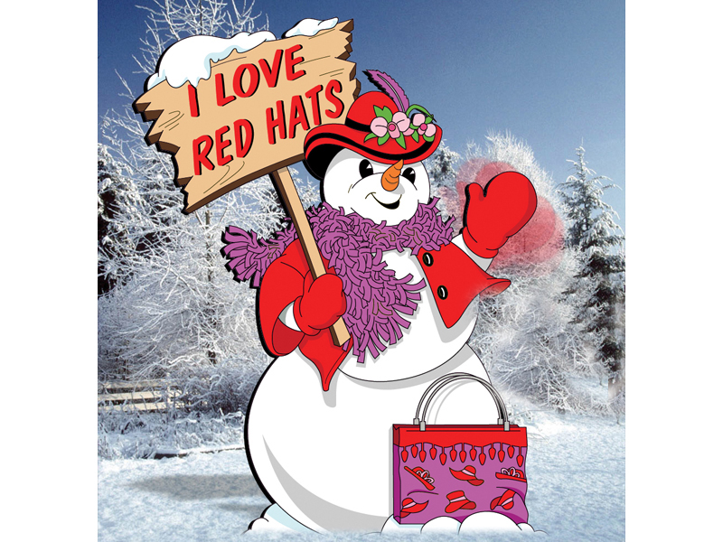 Red hat snow woman is a beloved style pattern