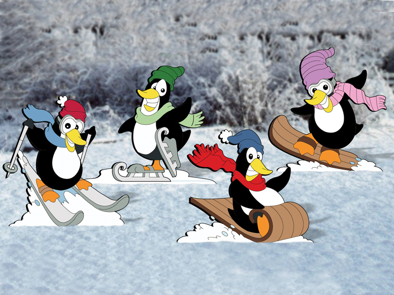 Winter themed penguins provide great seasonal yard decoration