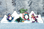 The all skate pattern includes a mountain of snow and four penguins
