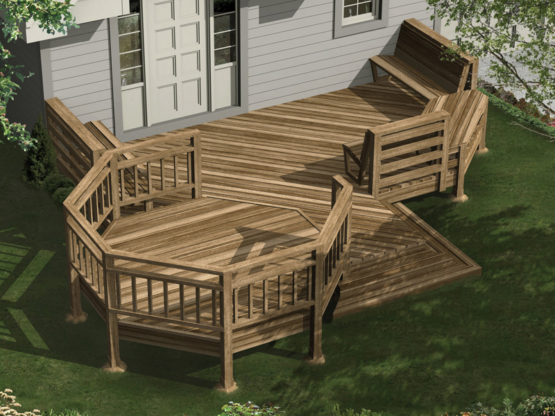 Large deck has multiple levels for added interest to the backyard