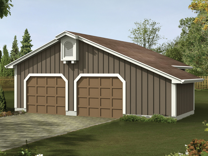 Two-car garage has work area for convenience and a rustic exterior style