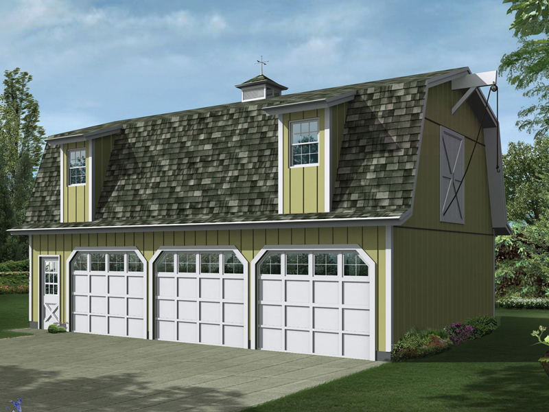Cedar shake roof and a gambrel style roof make this apartment garage rustic with a country feel