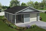 One-car garage has a covered porch and extra storage