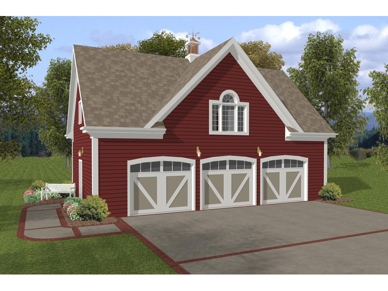 Refined three-car garage style with living space above has detailed garage doors for added interest