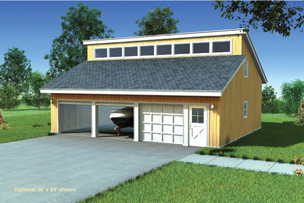 Belmont hill clerestory garage plan 109d 6011 house for Clerestory windows cost