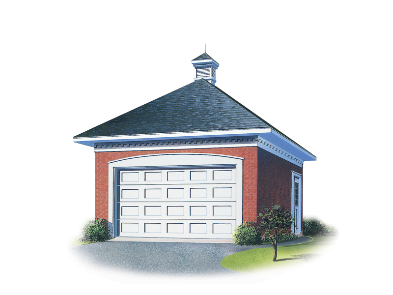One-car garage has western flair thanks to hip roof designa and center cupola