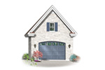 Decorative one-car garage with decorative window above garage door
