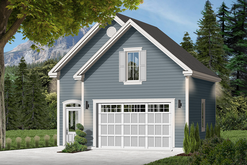 Charming country style two-car garage with double gable front exterior