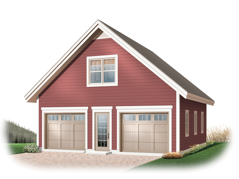 Two-car garage has country flair with simple style that is economical