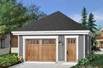 One-car garage has entry door and a stylish hip roof design