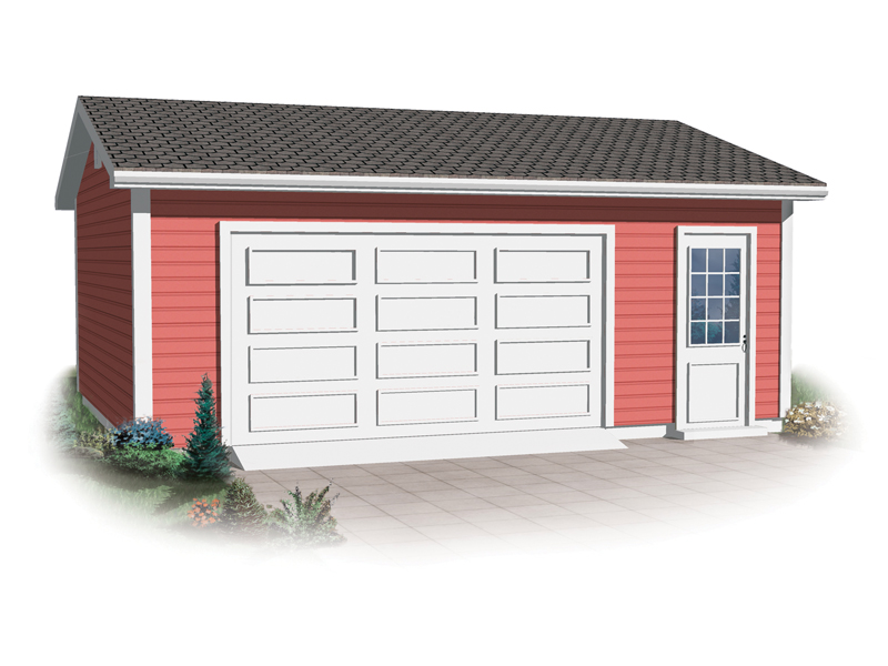 Compact two-car garage has entry door for ease