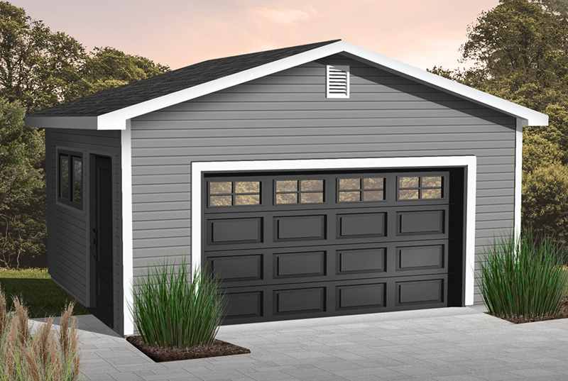 One-car garage has side entry door and window for added sunlight in the interior