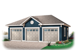 Three-car garage has center gable design for added charm