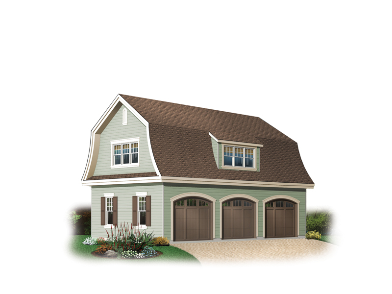 Three-car garage has charming gambrel roof with dormer