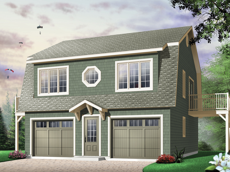 Two Story Style Car Garage Apartment With Decorative Round Center Second Floor Window