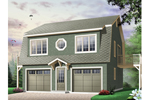 Two-story style two-car garage apartment with decorative round center second floor window