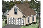 Victorian garage has a large bay window above garage doors and works great with any Victorian style home plan